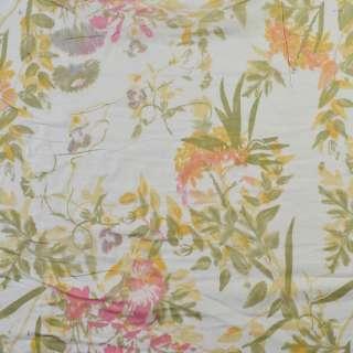 Вискоза белая, розовые цветы, зеленые листья (2сорт), ш.140
