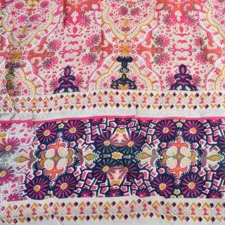 Вискоза белая, розовый орнамент (непрокрас) (2сорт), ш.145