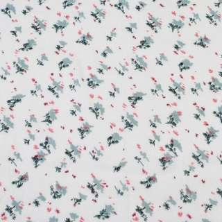 Вискоза белая, красно-серые мелкие цветки (2сорт), ш.140