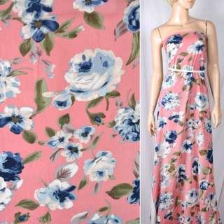 Вискоза розовая темная в сине-голубые цветы (2сорт), ш.140