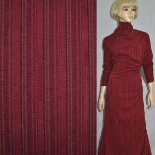 Габардин костюмный красный в черно-бежевую полоску со стежками, ш.150