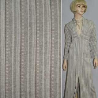 Габардин костюмный песочный в полоску со стежками, ш.150