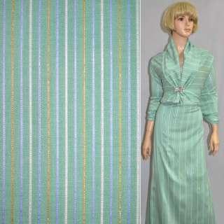 Ткань костюмная стрейч светло-зеленая с цветной полосой и люрексом