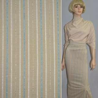 Тканина костюмна стрейч пісочна в кольорову смужку з люрексом