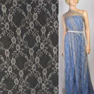 Гипюр бежево-серый с цветами ш.150