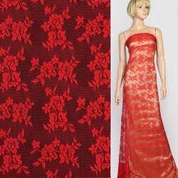 Кружевное полотно стрейч мелкие розочки красное, ш.145