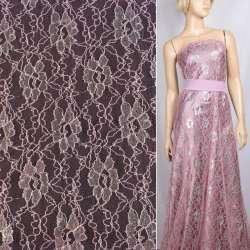 Гипюр розовый с серебристыми люрексом цветы