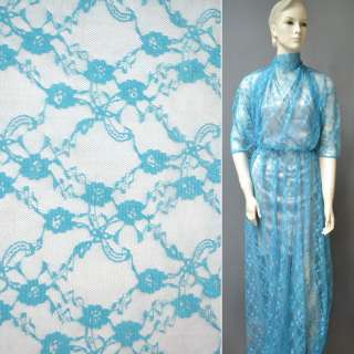 Гіпюр блакитний в дрібні квіти ш.150