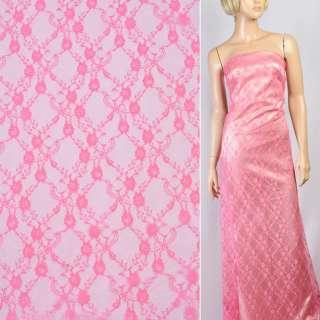Гипюр розовый в мелкие цветы ш.150