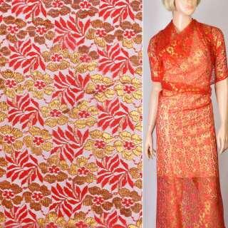 Гипюр красный с цветами из золотого люрекса ш.150