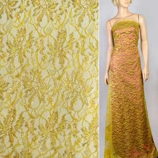 Гипюр стрейч желтый с золотым люрексом ш.150