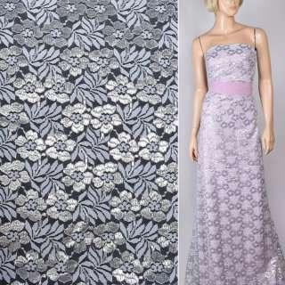 Гипюр белый с цветами из серебристого люрекса ш.150