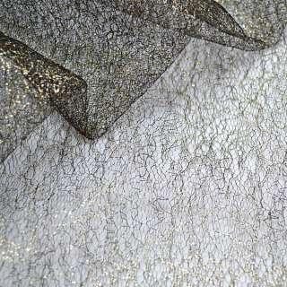 Гипюр-паутинка черный с золотистым люрексом, ш.150