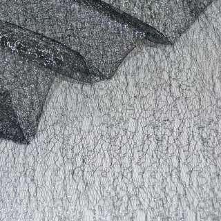 Гипюр-паутинка черный с серебряным люрексом ш.150