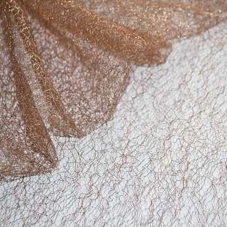 гипюр-паутинка коричнево-розовая с серебр. люрексом ш.160