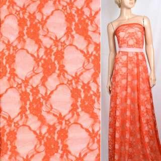 Гіпюр стрейч помаранчевий з в'юнкими квітами ш.150