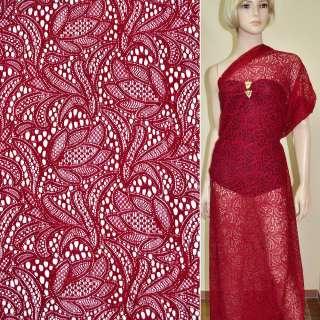 Кружевное полотно стрейч красное цветы ш.156