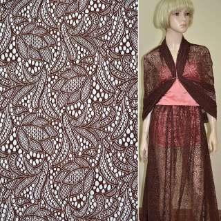Кружевное полотно стрейч коричневое цветы ш.150