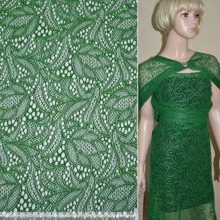 Кружевное полотно стрейч зеленое цветы ш.150