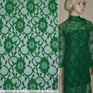 Кружевное полотно стрейчевое зеленое цветы с кругами ш.150