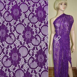 Кружевное полотно стрейчевое фиолетовое цветы с кругами ш.145