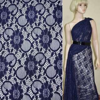 Кружевное полотно стрейчевое темно синее цветы с кругами ш.156