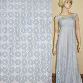 Кружевное полотно стрейч кружочки бледно голубое ш.150