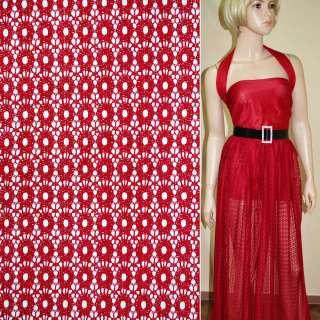 Кружевное полотно стрейч кружочки красное ш.150