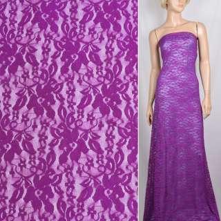 Гипюр стрейч фиолетовый с цветами ш.150