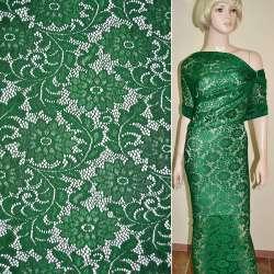 Кружевное полотно стрейч зеленое веточка с цветами ш.156