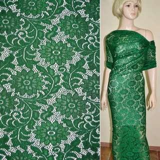 Мереживне полотно стрейч зелене гілочка з квітами ш.156