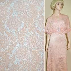 Кружевное полотно стрейч персиковое веточка с цветами ш.152