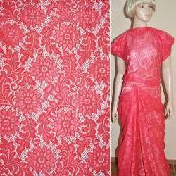 Кружевное полотно стрейч ярко розовое веточка с цветами ш.150