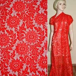 Кружевное полотно стрейч красное веточка с цветами ш.154