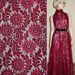 Кружевное полотно стрейч бордовое веточка с цветами ш.150
