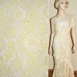 Кружевное полотно стрейч кремовое веточка с цветами ш.150