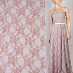 Гипюр серо розовый с цветами ш.150