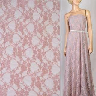 Гіпюр сіро рожевий з квітами ш.150