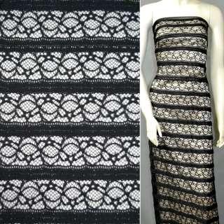 Cтрейч гипюр черный полоски с цветами+ рюш ш.140