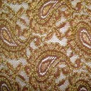 Гіпюр стрейч коричневий з огірками і золотий метанітью ш.150