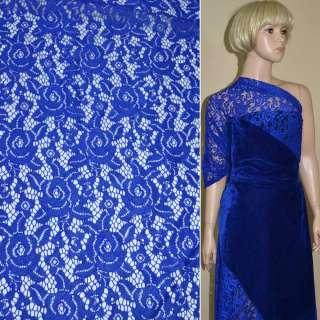 Кружевное полотно стрейч розы синее ш.150