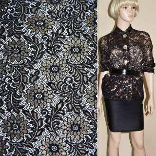 Кружевное полотно стрейч черное с золотым люрексом веточка с цветами ш.15