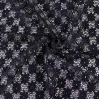 Гіпюр стрейч чорний, ромби з квітами, ш.150