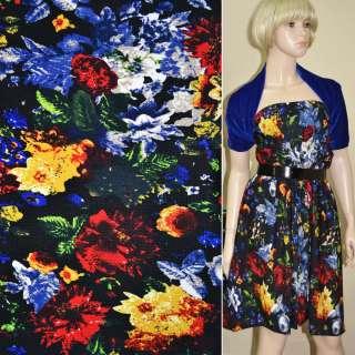 Мікродайвінг чорний з червоно-синіми квітами ш.170