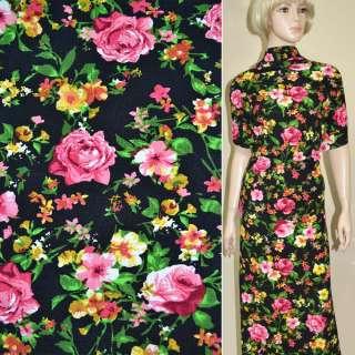Микродайвинг черный с розово-желтыми цветами ш.165