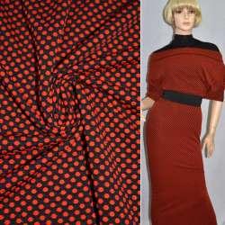 Трикотаж стрейч чорний в червоні кружечки ш.166