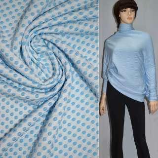 Трикотаж стрейч белый в голубые кружочки ш.170