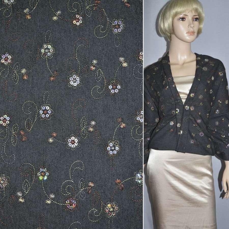 Джинс стрейч с бежевой вышивкой цветы с пайетками черный
