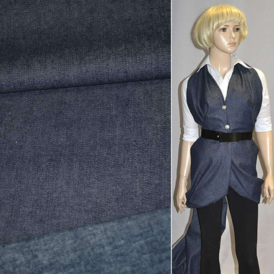 Коттон-джинс с начесом темно-синий ш.135