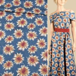 Джинс синій в бежево-коричневі квіти, ш.150